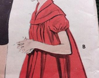 Vintage Maternity Pattern Sewing Vintage Butterick Sz 14 Bust 32 No. 7388 Circle Yoke Smock TOP Kangaroo SKIRT 50s MATERNITY