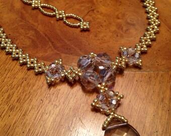 Swarovski crystal pendant necklace beaded statement necklace beadwoven necklace beadwork pendant necklace gold beaded necklace EBW Team