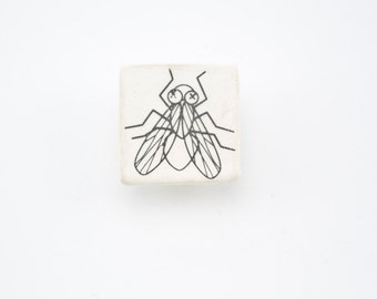 Ceramic Badge with Fly - Porcelain Handmade Brooch - Pinback Button