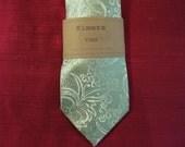 Mint & Silver Metallic Paisley Handmade Men's Necktie