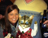 SURPRISE CAT Ugly Christmas Sweater on ANY Size Sweater 156 Elves Gone Wild