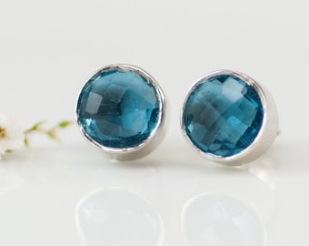 Gem studs - London Blue Topaz Stud Earrings - December Birthstone Studs - Gemstone Studs - Round Studs - Silver Stud Earrings - Post Earring