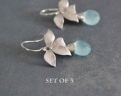 Bridesmaid Gift Set 3 Pairs Wild Orchid Silver Earrings, Aqua Chalcedony, Sterling Silver Hoops, Aqua Blue Earrings, Wedding Jewelry