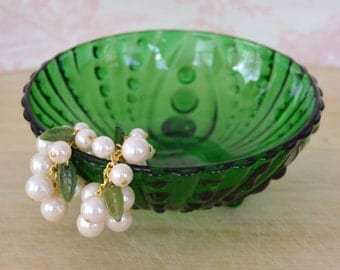 Vintage Emerald Green Trinket Tray or Bowl by Anchor Hocking