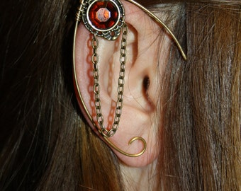 golden elven ear  - ear cuff - elvish earring - elf ear