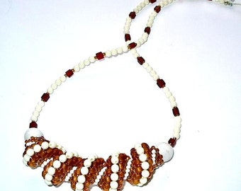 Bead Woven Cellini Spiral Necklace, Brown & Ivory, Hand Made in the USA