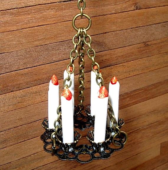Brass Filigree Chandelier Dollhouse Miniature 1/12 Scale