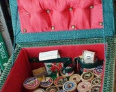 Great Aunt Carrie's Wicker Sewing Box,36 Spools Antique Thread,Tape Measure,Thimble,Red Tufted Satin Lining Green Textured Lid Clasp Closure