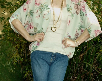 Handmade Vintage Fabric Shrug Mint & Pink Roses Batwing Drapy  S M L
