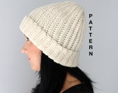 The Ribbed Beanie, Crochet Ribbed Style Beanie Hat PATTERN, Adult Beanie PDF Instant Downlaod