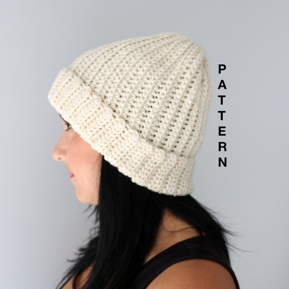 Crochet Ribbed Hat : Ribbed Beanie, Crochet Ribbed Style Beanie Hat PATTERN, Adult Beanie ...
