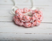Teething Necklace in ORGANIC FABRIC Pink Chevron