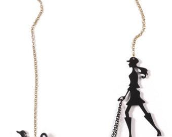 Black dog walker necklace - A walk in the park - Laser cut acrylic (plexiglass) jewelry