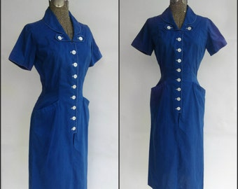 Vintage 1940s Dress, 1950s Dress, B 34 W 26, Bright Blue Dress, S, small, Helen Whiting, Blue 40s Dress, Wiggle Dress, Rockabilly Pinup WWII