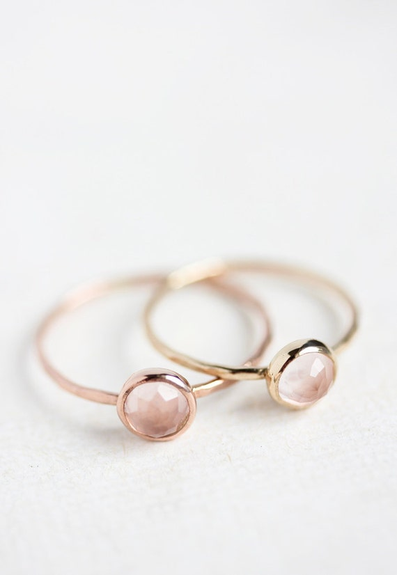 Rose quartz rose gold ring, 14k gold, rose cut, thin stacking ring, pastel pink, delicate gold ring, solid 14k gold ring