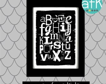 Black and White DISTRESSED Letters ABC Nursery Art Print