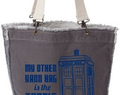 Dr. Who Tardis yarn project tote. Just what you need to conceal the gobs of fiber you have!