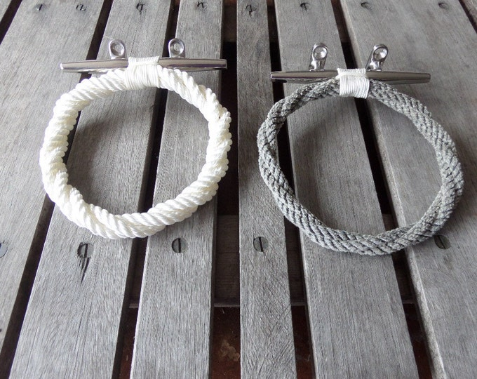 Rope Towel Ring With Stainless Steel Cleat  Nautical Decor Towel Holder Fixture / Choose Color Combos  Tan/White/Gray/Navy