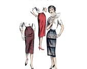 1950s One Yard Skirt Pattern Advance 8724 32 Waist Womens Vintage Sewing Pattern Misses Slim Sheath Skirt in 2 Views Sew Easy Mad Men Era