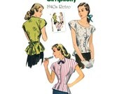 1940s Blouse Pattern Simplicity 1590 Uncut Reissue Retro Peplum Tops Scoop Neck Wing Collar Kimono Sleeve Day Evening Womens Sewing Pattern