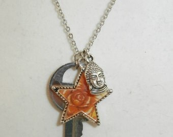 Sterling Silver Star, Key, and Buddha Charm Necklace