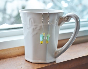 Turquoise and Yellow Earrings