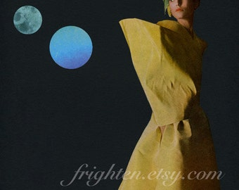 One of a Kind Retro Paper Collage, 8.5 x 11 Inch Black and Yellow Art with Beautiful Woman and Geometric Circles