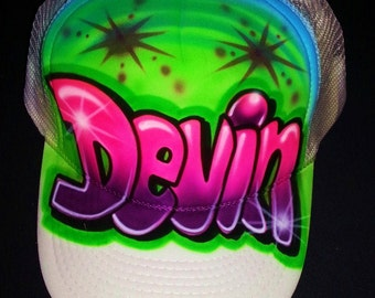 Airbrush Trucker Hat With Bubble Letters Name, Airbrush Graffiti Hat, Airbrush Grafitti Hat, Airbrush Trucker Hat, Trucker Hat, Airbrush