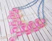 Cotton Candy Pink Beads Necklace w/ Sky Blue Chains
