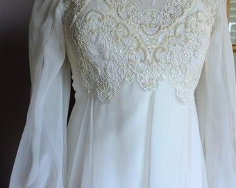 Wedding dress vintage 70s empire alternative wedding gown lace