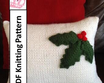 "PDF KNITTING PATTERN, Christmas pillow cover pattern, Holly Leaves, 12""x16"" or 16""x16"" pillow cover pattern"