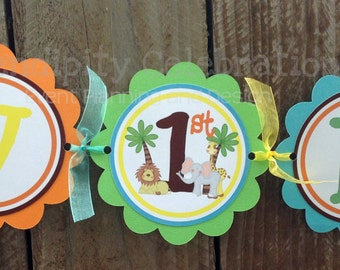 Personalized Happy Birthday Banner -Jungle -Birthday Banner -Photo Prop -Lion -Giraffe -Elephant