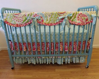 Crib Bedding BUMPERLESS Girl Baby Bedding- Baby Bedding- MADE to ORDER
