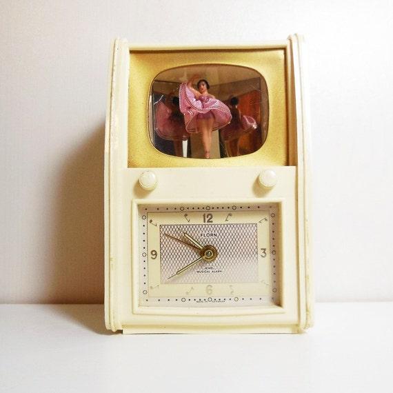 Vintage Ballerina Music Box Alarm Clock Florn Germany