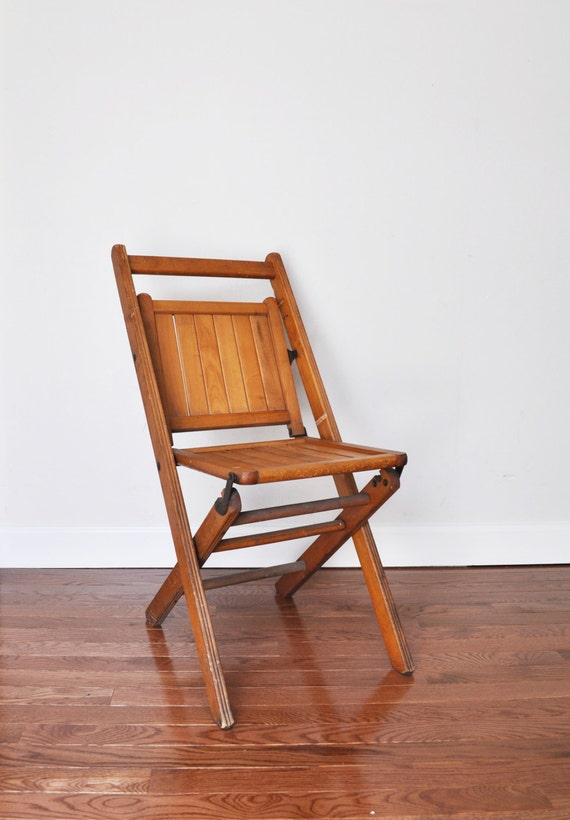 vintage antique wood folding chair