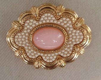Victorian Revival Pink Cabochon with Pearls Pin