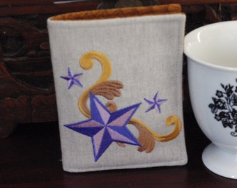 Nautical Star Tea Wallet Embroidered Natural Linen