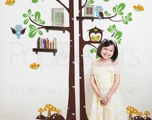 Kids Shelving Tree - Kids Wall Decals Playroom Tree Decal Nursery Tree Sticker - Free Squeegee and color change
