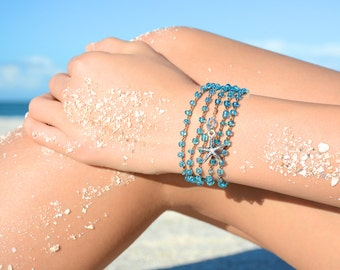 Starfish Crochet Wrap Bracelet Rosary Beaded Bracelet Friendship Bracelet Crochet Bracelet Necklace Beach Bracelet Beach Boho Jewelry