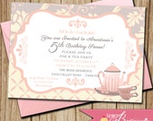 French Theme Tea Party / Birthday Party Invitation - DIY Printable Invite - Girls 3rd, 4th, 5th Birthday - Paris - Pink, Cream, Grey