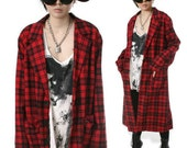 RTBU Punk Rock Unisex Flannel Plaid Tartan Long Slouchy Oversized Blazer Jacket Trench Coat Covert