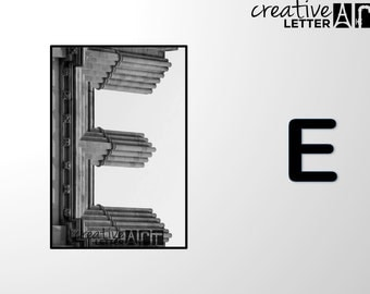 Download Letter E 206 Architectural Alphabet Photography - Printable sizes 4x6, 5x7 8x12 Digital Image - Family Name, Wedding, Personalize