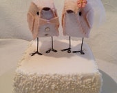 Oat Light Pink Love Birds Wedding Cake Topper - READY TO SHIP!