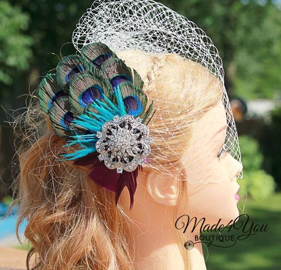 Peacock Headpiece For Wedding: Peacock Wedding Fascinator-Birdcage Wedding Veil-Bridal