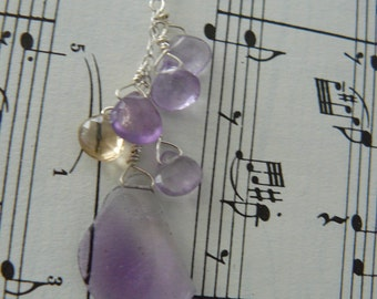 Magical Amethyst and Citrine Sterling SIlver Necklace