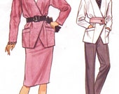 80s Womens Double Breasted Jacket, Skirt & Tapered Pants Vogue Sewing Pattern 9662 Size 6 8 10 Bust 30 1/2 to 32 1/2 Very Easy Very Vogue