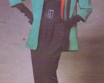 1980s Nina Ricci Womens Retro Jacket & Jumpsuit Vogue Paris Original Sewing Pattern 1818 Size 12 Bust 34 UnCut 80s does 40s
