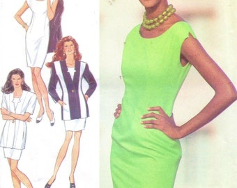 1990s Style Sewing Pattern 2238 Womens Fitted Princess Seam Jacket and Shift Dress Size 8 to 18 Bust 31 1/2 to 40 UnCut