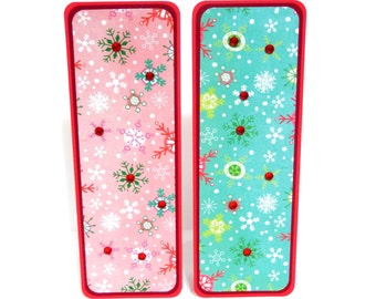 Christmas Snowflakes: Paper Bookmarks Set of 2- approx. 2 1/2 x 7 inches