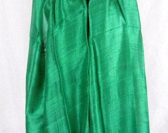 "100 % Thai Raw Pure Silk Scarf Shawl Wrap  24""x62"" Large in Green H17"
